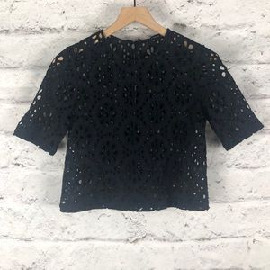 NWOT Zara Women Navy Blue Lace Crop Top Sz S